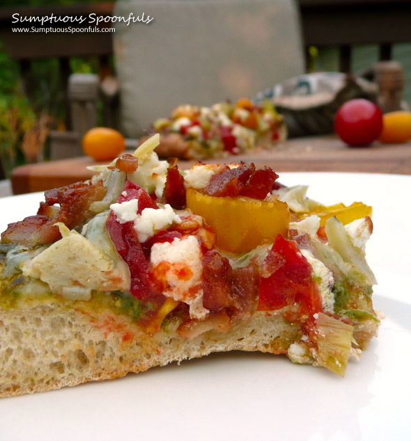 Bacon Artichoke & Tomato Pizza with Pesto & Goat Cheese ~ Sumptuous Spoonfuls #pizza #recipe
