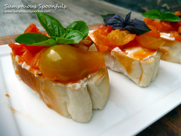 Heirloom Tomato Basil Bruschetta & A #CookingPlanit App Review ~ from Sumptuous Spoonfuls