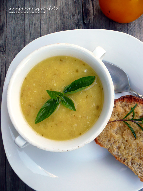 Sunshine Soup {Yellow Tomato Basil} ~ Sumptuous Spoonfuls #soup #recipe
