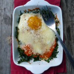 Baked Eggs Romesco with Kale ~ Sumptuous Spoonfuls #breakfast #recipe