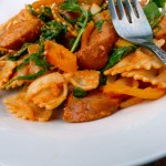 Farfalle Romesco with Sausage & Arugula ~ Sumptuous Spoonfuls #pasta #recipe