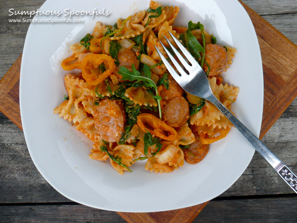 Farfalle Romesco with Chicken Sausage, Sweet Peppers, Spinach & Arugula