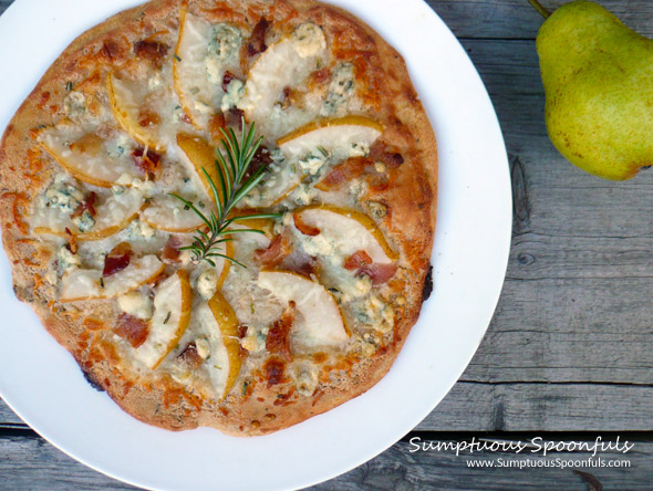 Sweet & Savory Pear, Bacon & Blue Cheese Pizza