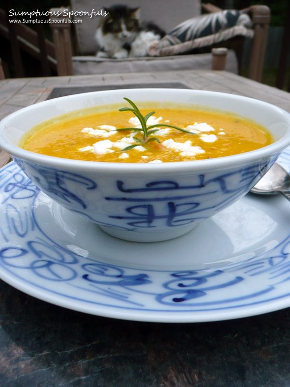 Rosemary Butternut Soup with Goat Cheese ~ Sumptuous Spoonfuls #soup #recipe