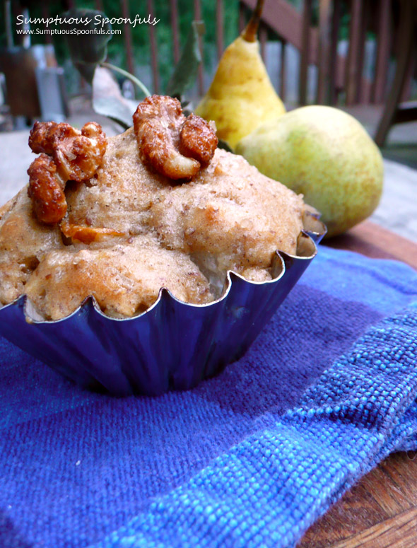 Walnut Whole Wheat Pear Chai Muffins ~ Sumptuous Spoonfuls #muffin #recipe