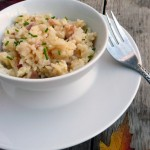 Bacon Onion White Cheddar Risotto ~ Sumptuous Spoonfuls #risotto #recipe