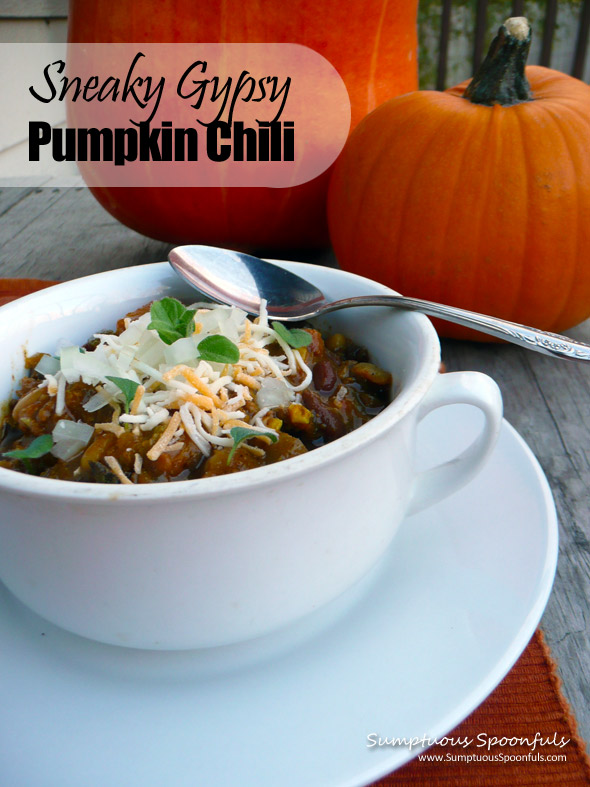 Sneaky Gypsy Pumpkin Chili ~ Sumptuous Spoonfuls #chili #recipe