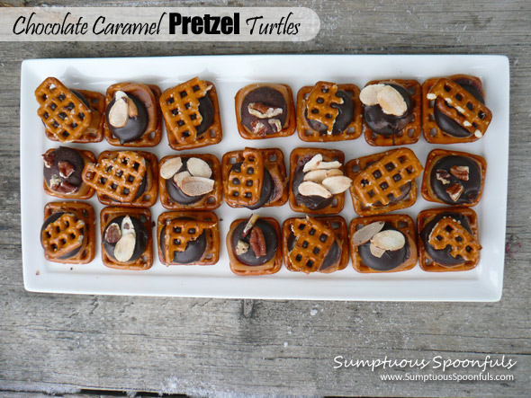Chocolate Caramel Pretzel Turtles ~ Sumptuous Spoonfuls #easy #holiday #recipe