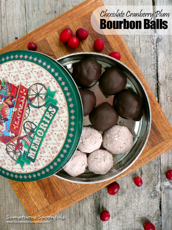Chocolate Cranberry Plum Bourbon Balls ~ Sumptuous Spoonfuls #holiday #recipe