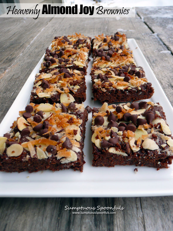 Heavenly Almond Joy Brownies ~ Sumptuous Spoonfuls #decadent #brownie #recipe