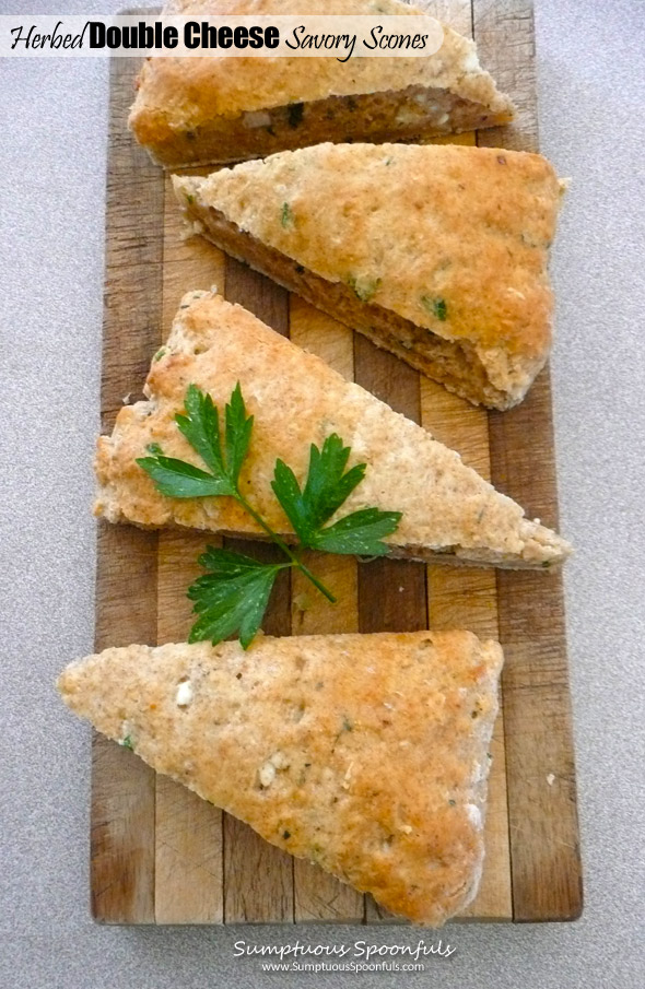 Herbed Double Cheese Savory Scones ~ Sumptuous Spoonfuls #savory #scone #recipe