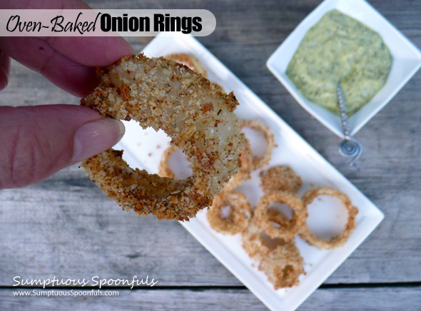 Oven Baked Onion Rings ~ Sumptuous Spoonfuls #healthy #snack #recipe