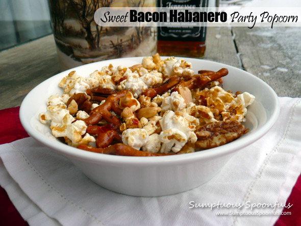 Sweet Bacon Habanero Party Popcorn ~ it's hot, spicy, sweet, salty, smoky, crunchy good.