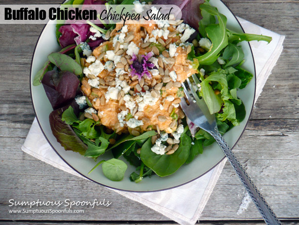 Buffalo Chicken Chickpea Salad ~ Sumptuous Spoonfuls #spicy #salad #recipe