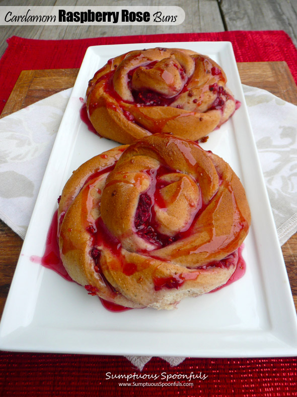 Cardamom Raspberry Rose Buns ~ Sumptuous Spoonfuls #sweet #bread #recipe