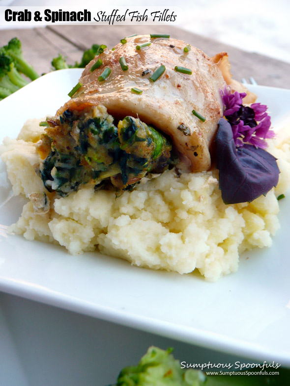 Crab spinach stuffed fish fillets sumptuous spoonfuls for Crab stuffed fish