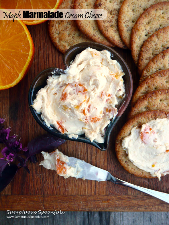 Maple Marmalade Cream Cheese ~ Sumptuous Spoonfuls #schmear #recipe