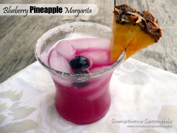 Blueberry Pineapple Margaritas ~ Sumptuous Spoonfuls #margarita #cocktail #recipe