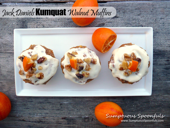 Jack Daniels Kumquat Walnut Muffins with Heavenly Cream Cheese Frosting