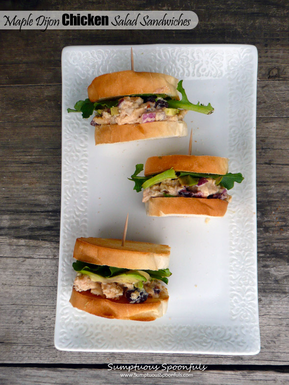 Maple Dijon Chicken Salad Sandwich ~ Sumptuous Spoonfuls #LowFat #Chicken #Sandwich # recipe