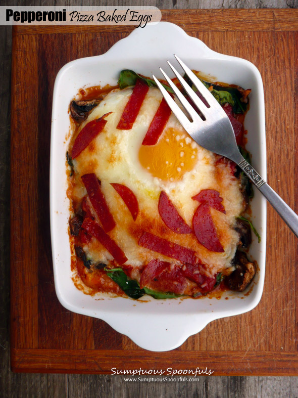 Pepperoni Pizza Baked Eggs with Mushrooms & Spinach ~ Sumptuous Spoonfuls #pizza #eggs #recipe