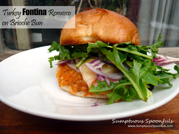 Toasted Turkey Fontina Romesco Sandwich on a Brioche Bun
