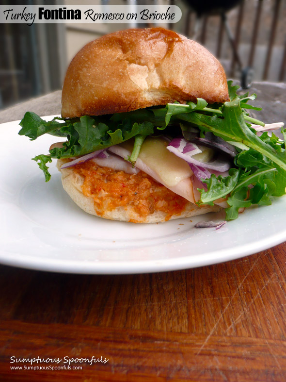 Turkey Fontina Romesco Sandwich on Brioche Bun ~ Sumptuous Spoonfuls #sumptuous #sandwich #recipe