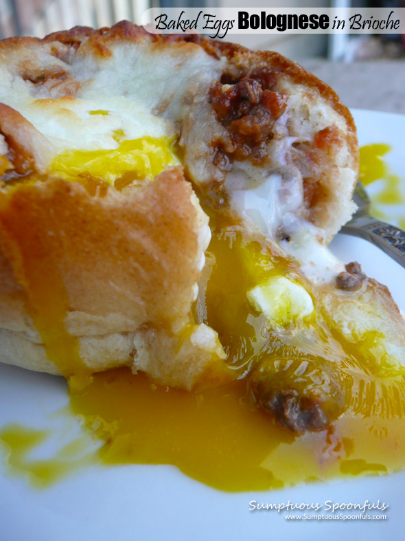 Baked Eggs Bolognese in Brioche Bread Bowls ~ Sumptuous Spoonfuls #eggs #breakfast #recipe