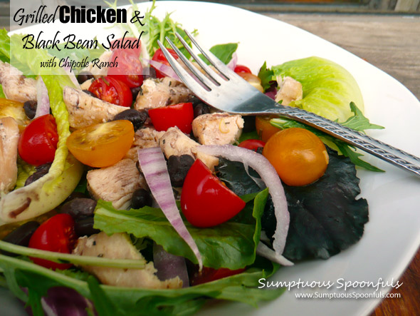 Grilled Chicken & Black Bean Salad with Chipotle Ranch Dressing   Sumptuous Spoonfuls #dinner #salad #recipe