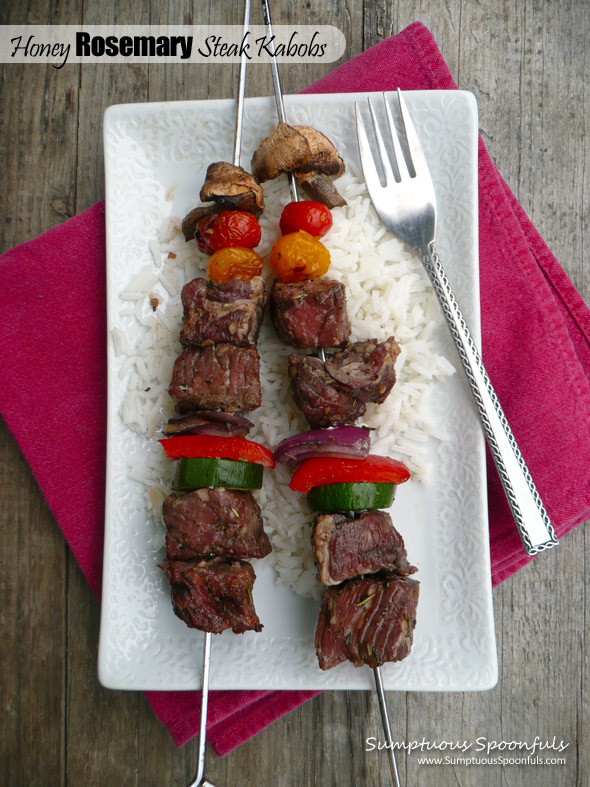 Honey Rosemary Steak Kabobs ~ Sumptuous Spoonfuls #grilled #steak #recipe