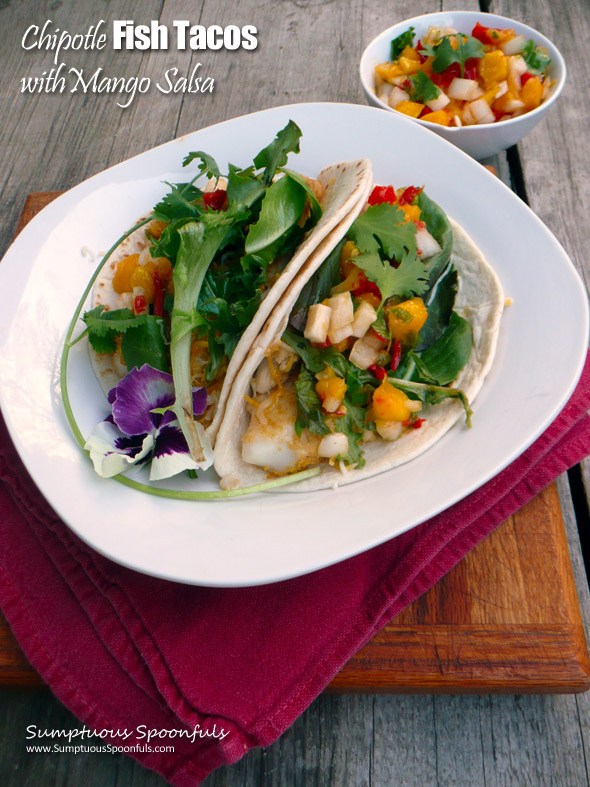 Chipotle Fish Tacos with Mango Salsa ~ Sumptuous Spoonfuls #fish #taco #recipe