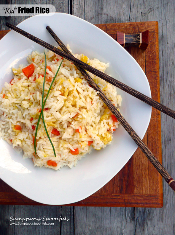 Kid Fried Rice ~ an easy, quick, kid-friendly Chinese dish ~ Sumptuous Spoonfuls #kid-friendly #recipe