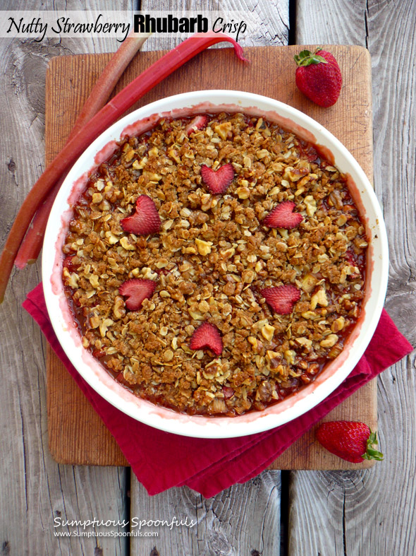 Nutty Strawberry Rhubarb Crisp ~ Sumptuous Spoonfuls #rhubarb #dessert #recipe