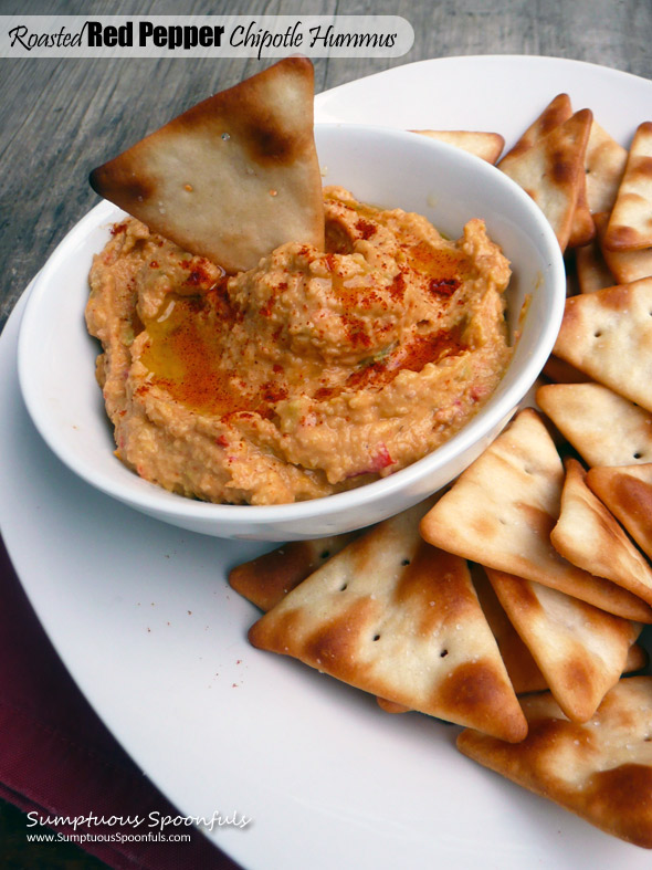 Roasted Red Pepper Chipotle Hummus ~ Sumptuous Spoonfuls #simple #spicy #hummus #recipe