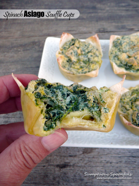 Spinach Asiago Souffle Cups ~ Sumptuous Spoonfuls #breakfast or #appetizer #recipe