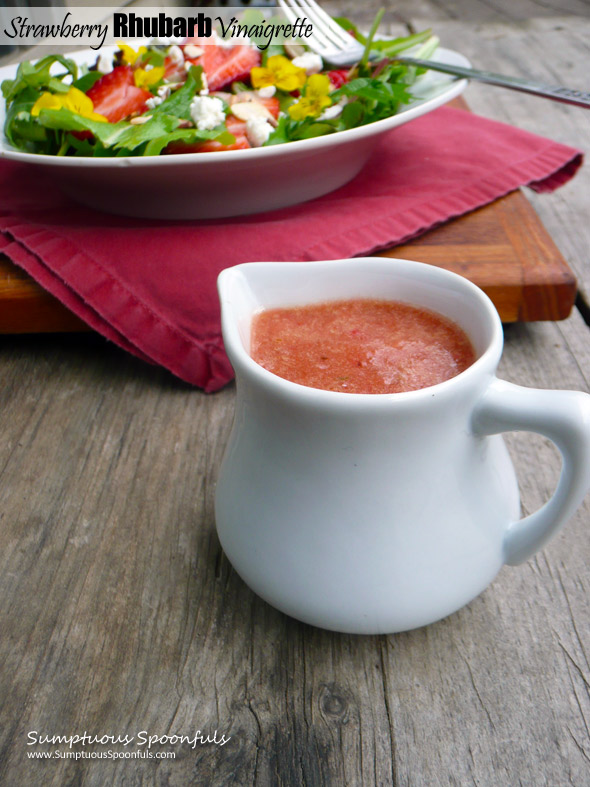 Strawberry Rhubarb Vinaigrette Salad Dressing ~ Sumptuous Spoonfuls #healthy #homemade #salad #dressing