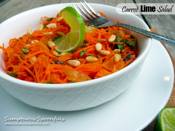 Carrot Lime Salad with Cilantro, Basil, Apricots & Pine Nuts