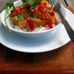 Watermelon Coconut Curry ~ don't toss those watermelon rinds - use them as a veggie in this marvelous curry! #savemoney #curry