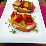 Cheesy Garlic Summer Bruschetta ~ Sumptuous Spoonfuls #tomato #bruschetta #garlic #basil #recipe