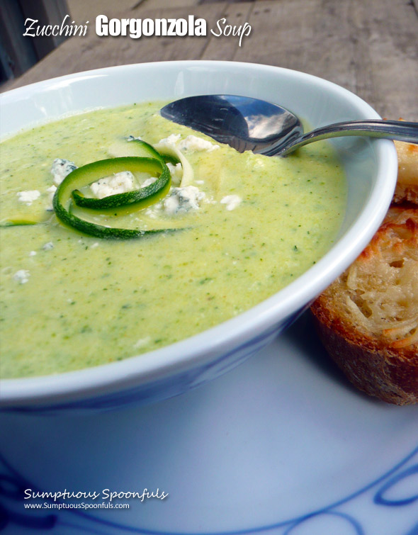Zucchini Gorgonzola Soup ~ Sumptuous Spoonfuls #creamy #zucchini #gorgonzola #soup (with no cream)!