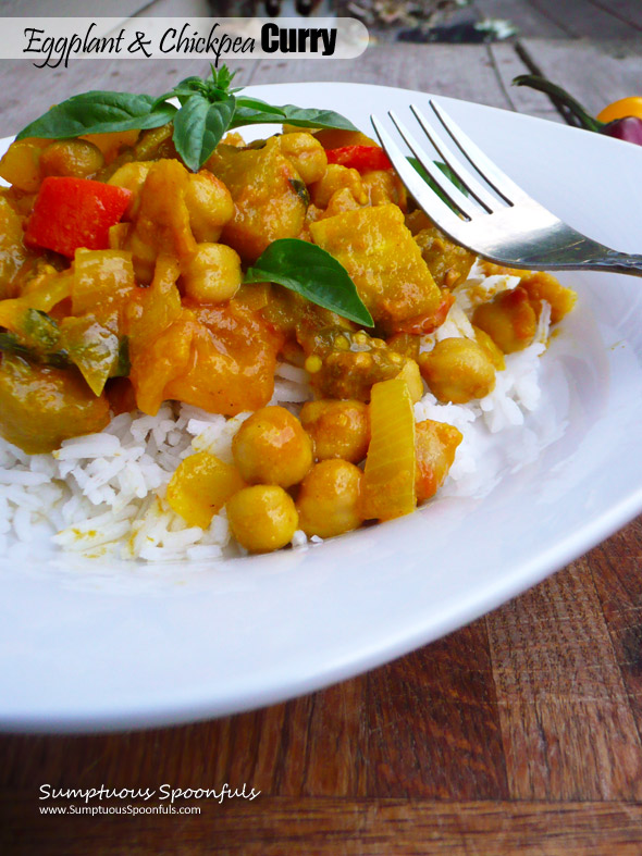 Eggplant & Chickpea Curry with Tomatoes & Basil