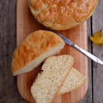 No Knead Peasant Bread baked in a bowl ~ Sumptuous Spoonfuls #easy #yeast #bread #recipe
