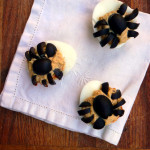 Spooky Spider Deviled Eggs ~ Sumptuous Spoonfuls #Halloween #Appetizer #Recipe