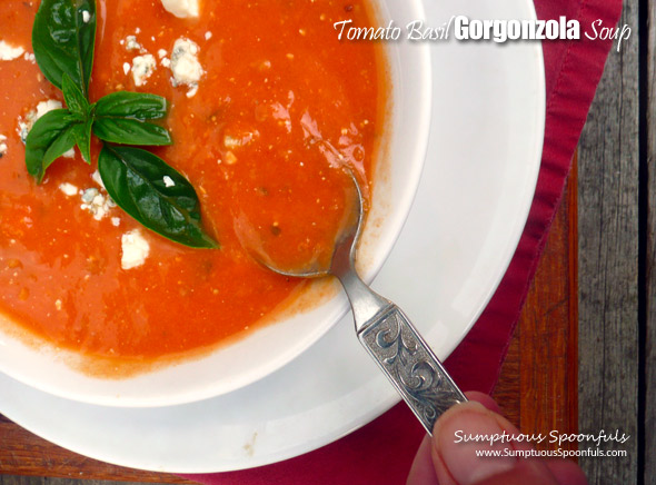 Tomato Basil Gorgonzola Soup ~ Sumptuous Spoonfuls #homemade #tomato #gorgonzola #cheese #soup #recipe
