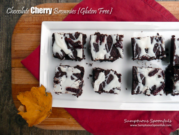 Chocolate Cherry Brownies {Gluten free}
