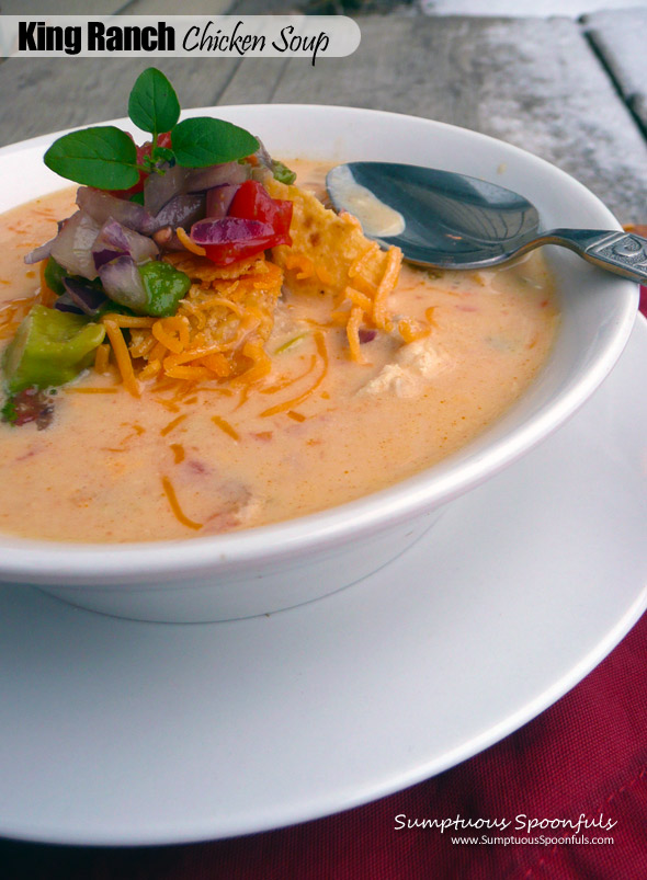 King Ranch Chicken Soup ~ Sumptuous Spoonfuls #cheesy #green #chile #chicken #soup #recipe