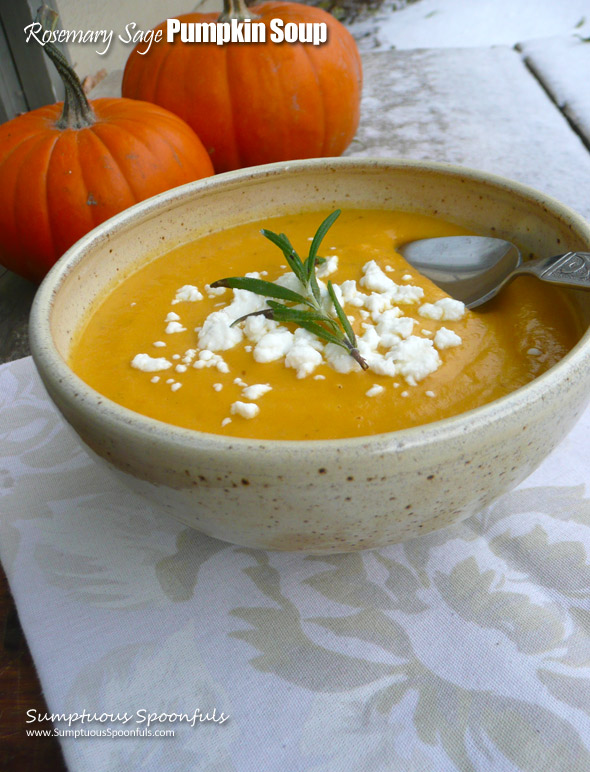 Creamy Rosemary Sage Pumpkin Soup ~ Sumptuous Spoonfuls #creamy #savory #pumpkin #soup #recipe