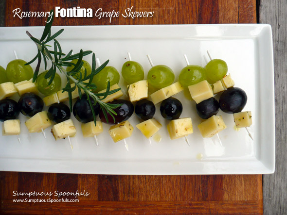Rosemary Fontina Grape Skewers