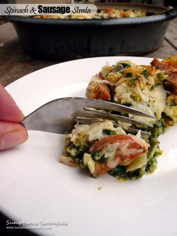 Spinach & Sausage Strata ~ Sumptuous Spoonfuls #easy #brunch or #dinner #recipe