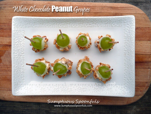 White Chocolate Peanut Grapes ~ Sumptuous Spoonfuls #easy #party #food #recipe